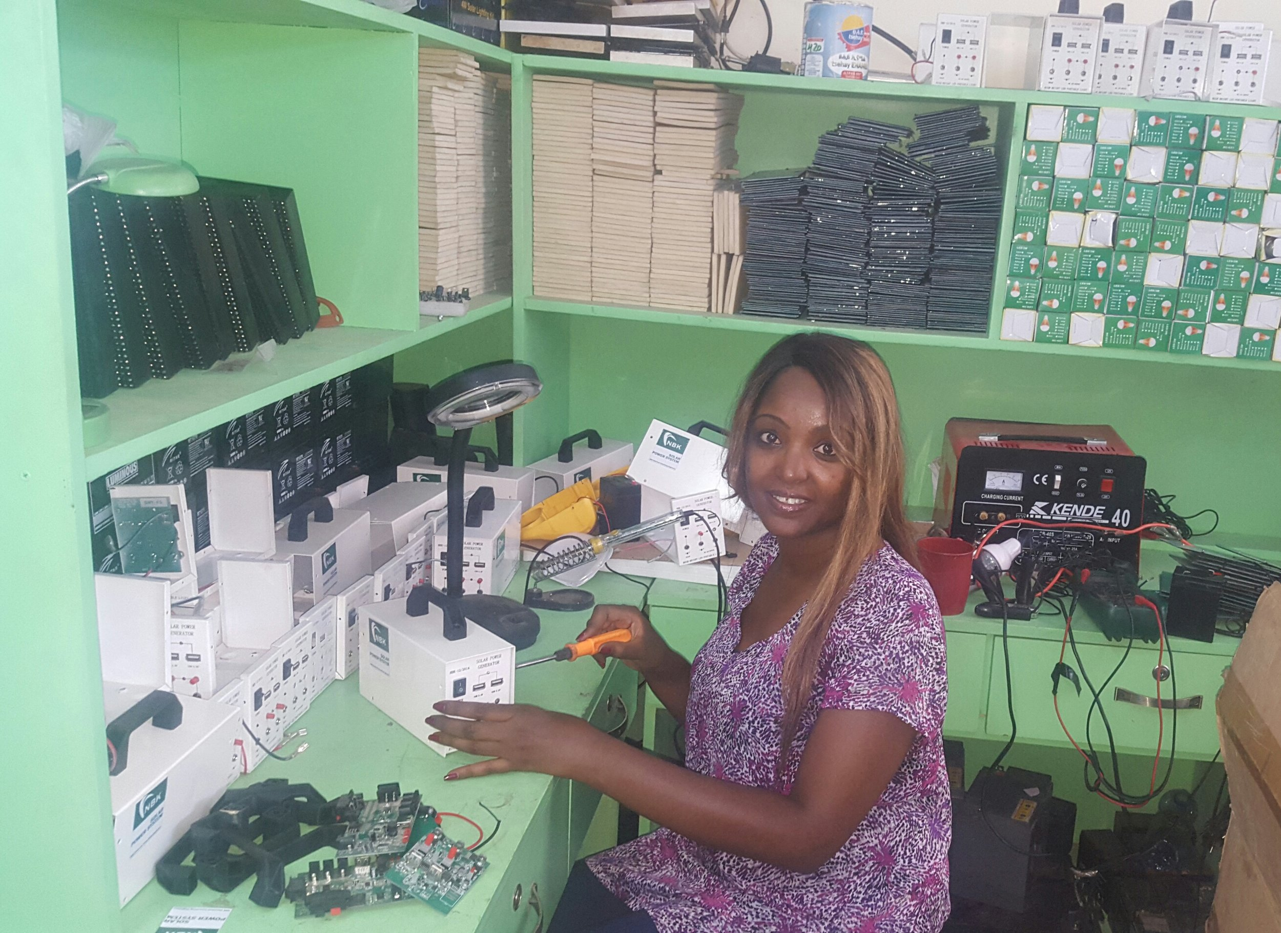 "Netsanet Kinda is an electrical engineer by profession and founder of NBK Engineering. She is determined to find affordable, off-grid energy solutions ""for Ethiopians, by Ethiopians."""