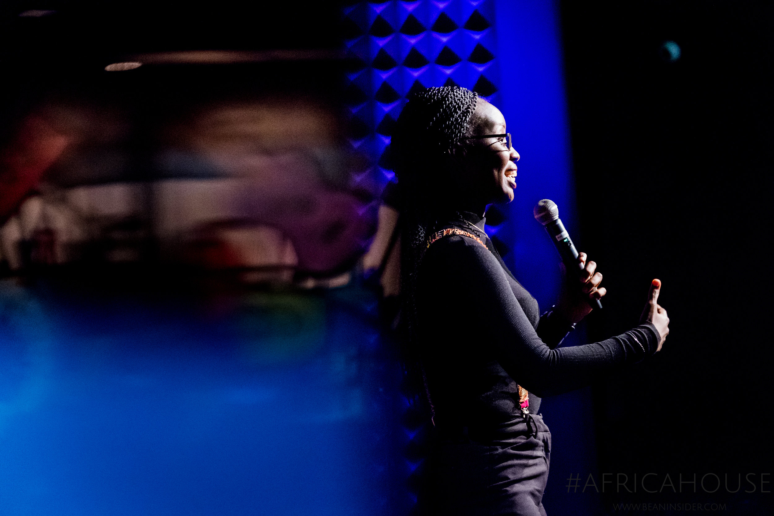 Brenda Katwesigye, CEO of Wazi Vision, pitches her social enterprise at the first ever Africa House event at 2018 SXSW in Austin, Texas. Photo credit: Adam Kealing