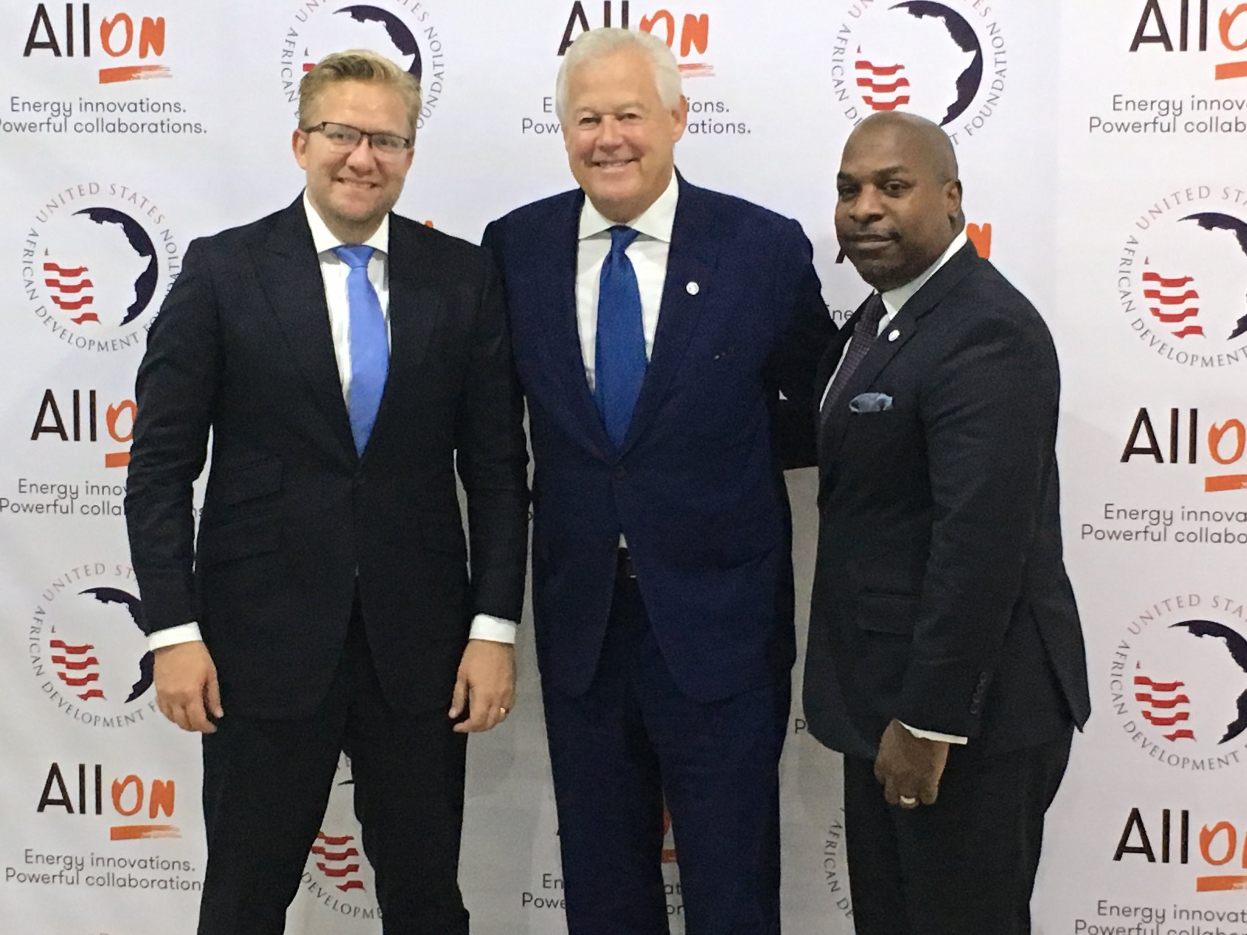 USADF Chair Jack Leslie (center), President & CEO C.D. Glin (right), and All On CEO Wiebe Boer (left) at the Nigeria Off Grid Summit in Lagos, Nigeria. Photo credit: Jeffrey Gilleo