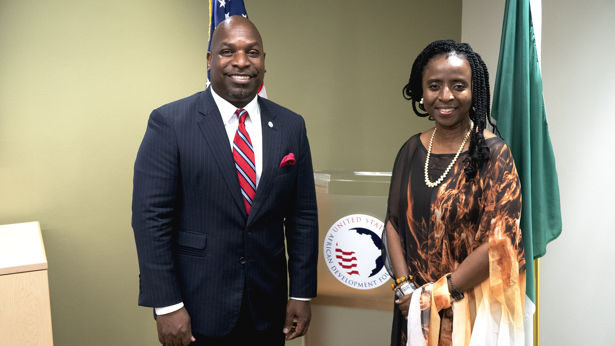USADF President and CEO C.D. Glin and LSETF Board Chair Ifueko Omoigui Okauru.