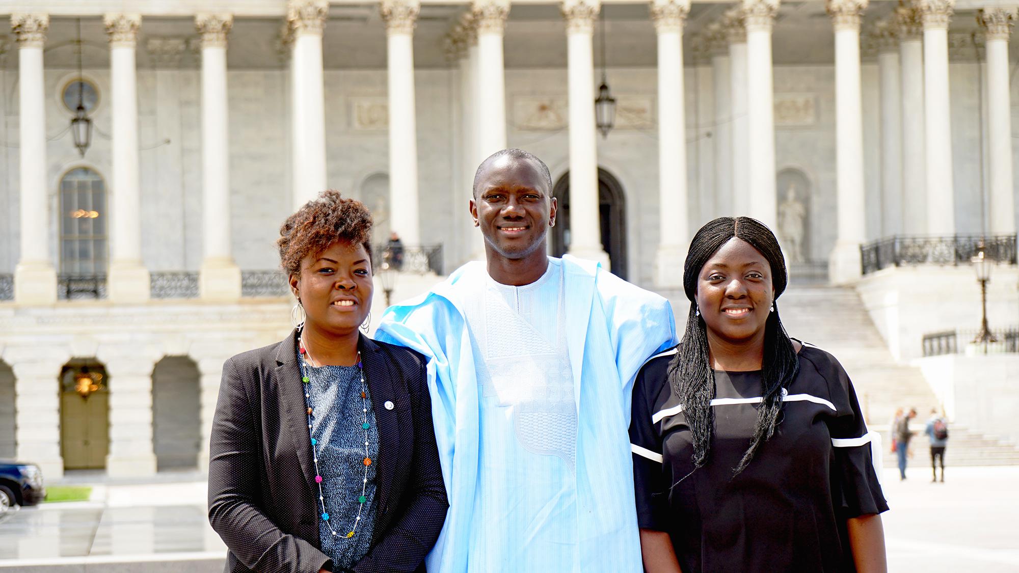 YALI Fellows Adjo Asare, Kémo Touré Jr., and Adepeju Jaiyeoba enjoyed a break during meetings on Capitol Hill.