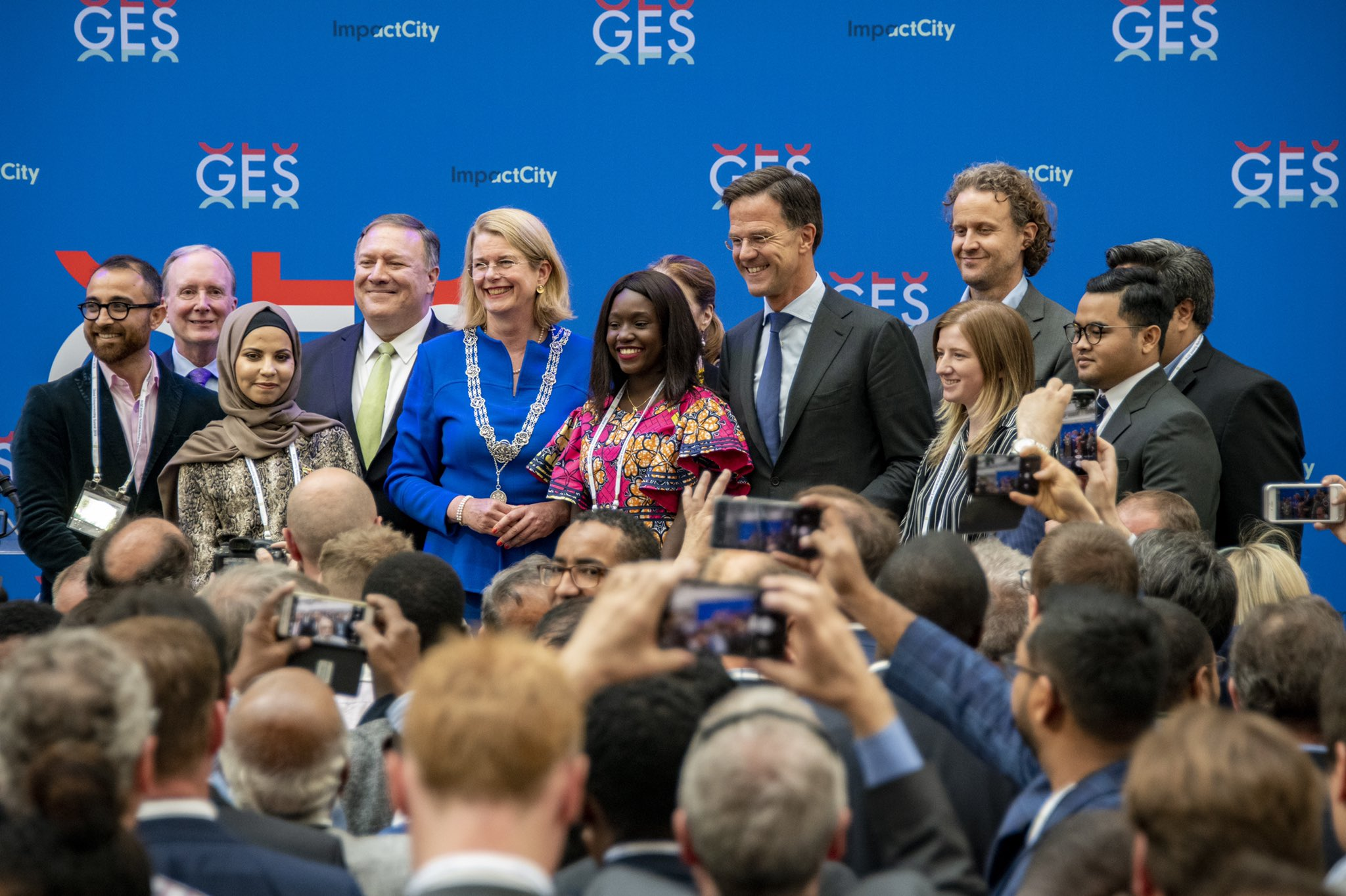 African entrepreneur and new USADF grantee Youma Fall (pictured center in floral print) joined GES officials, including U.S. Secretary of State Mike Pompeo and Dutch Prime Minister Mark Rutte, during the GES opening reception.