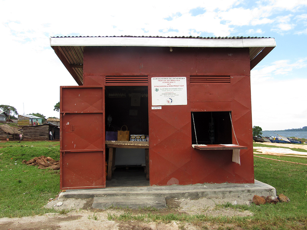Located on fishing shores, the Green Power Units, such as this one for Busobozi Women Group, house two solar-powered refrigerators.