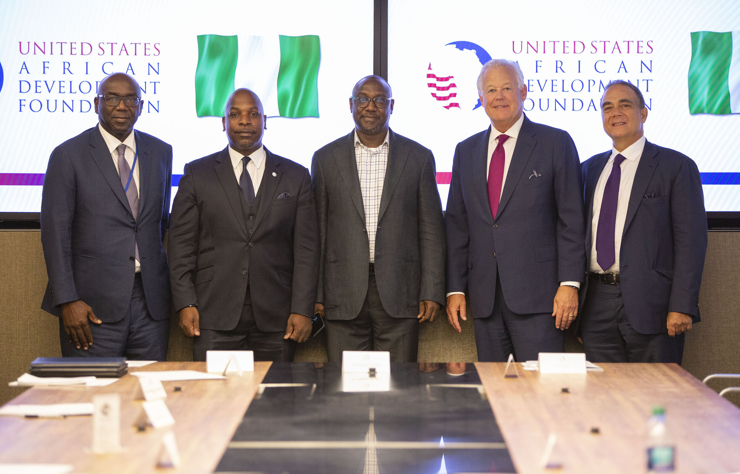 Pictured left to right: Kwara State Governor Abdulrahman Abdulrazaq, USADF President and CEO C.D. Glin, Niger State Governor Abubakar Sani Bello, USADF Board Chair Jack Leslie, and Flour Mills of Nigeria Chairman John Coumantaros.