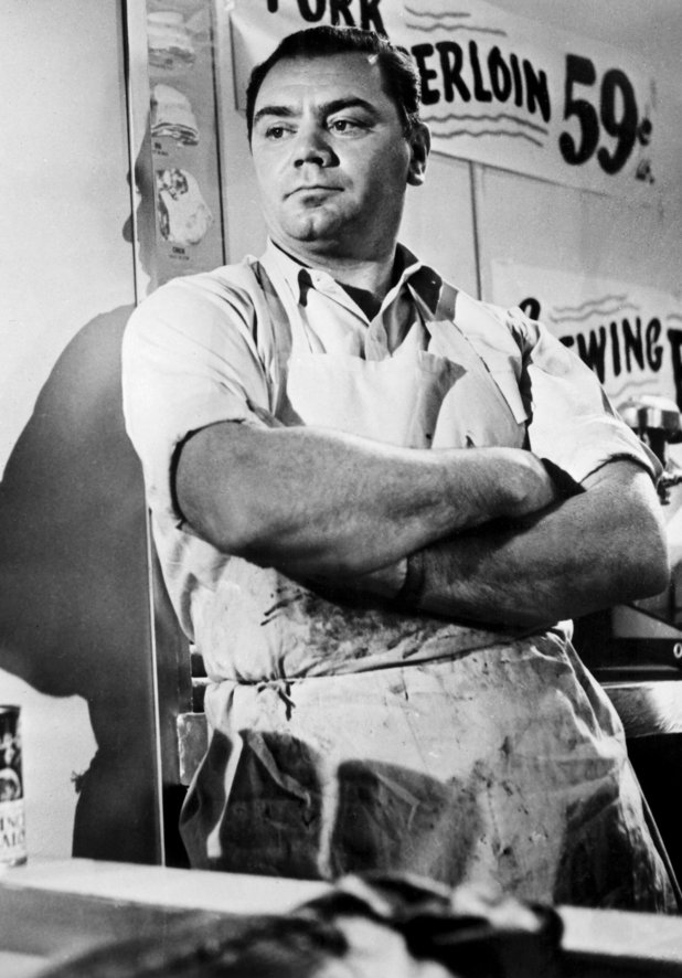 Ernest Borgnine in Oteri's, now Vincent's Meat Market on Arthur Avenue.
