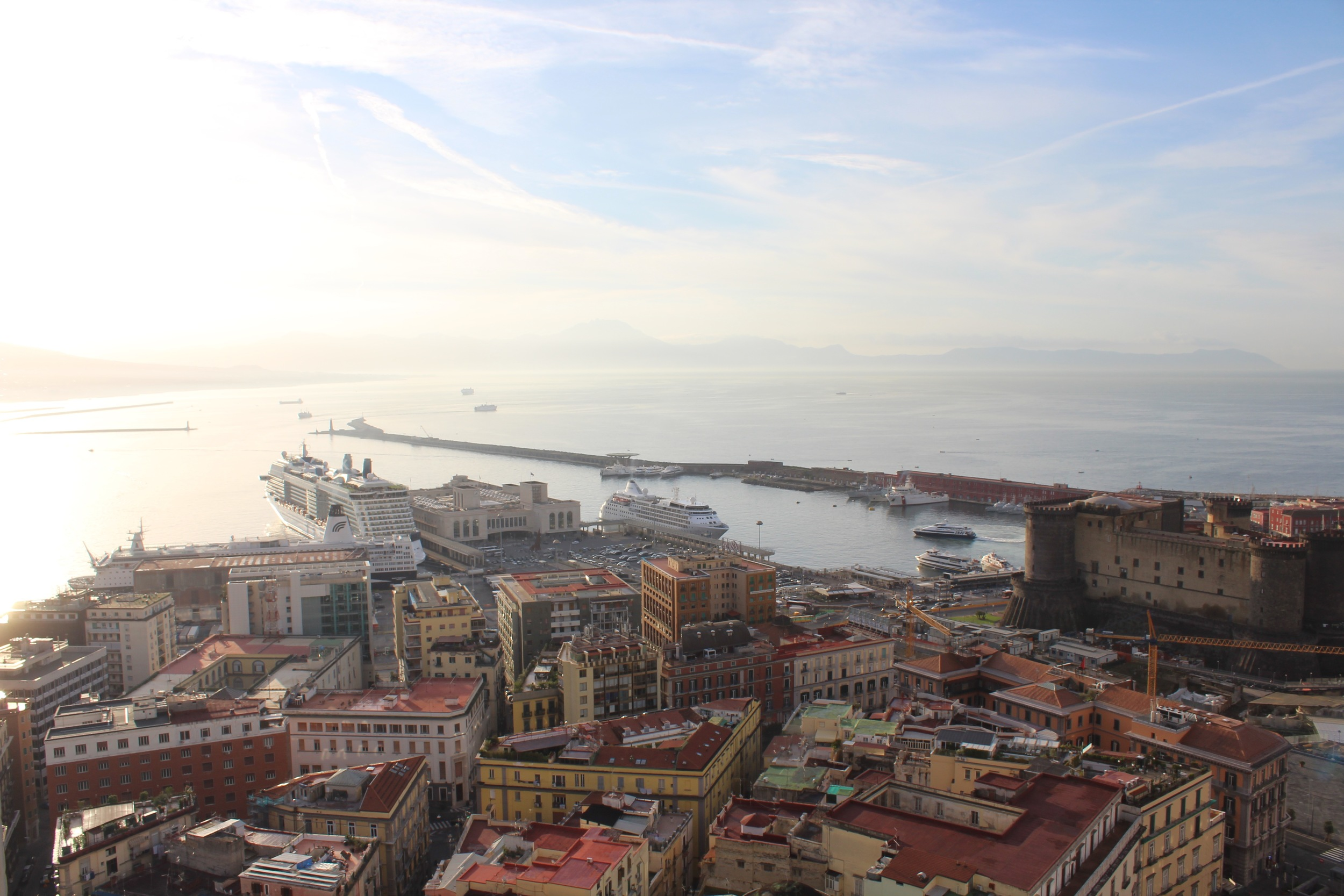 Port of Naples and Castel Nuovo, view from the NH Ambassador Hotel on Via Medina
