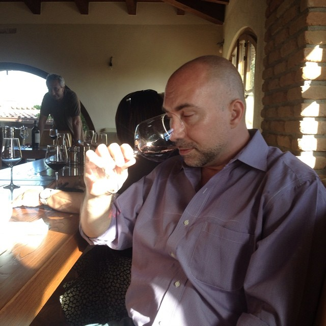 Luigi Moio (in the background) leads a wine tasting