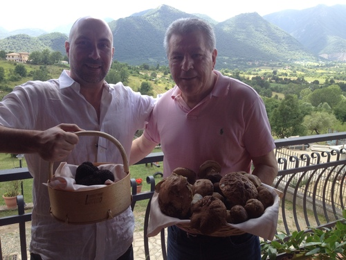 Baskets full of Bagnoli black truffles at Nonna Pina country house