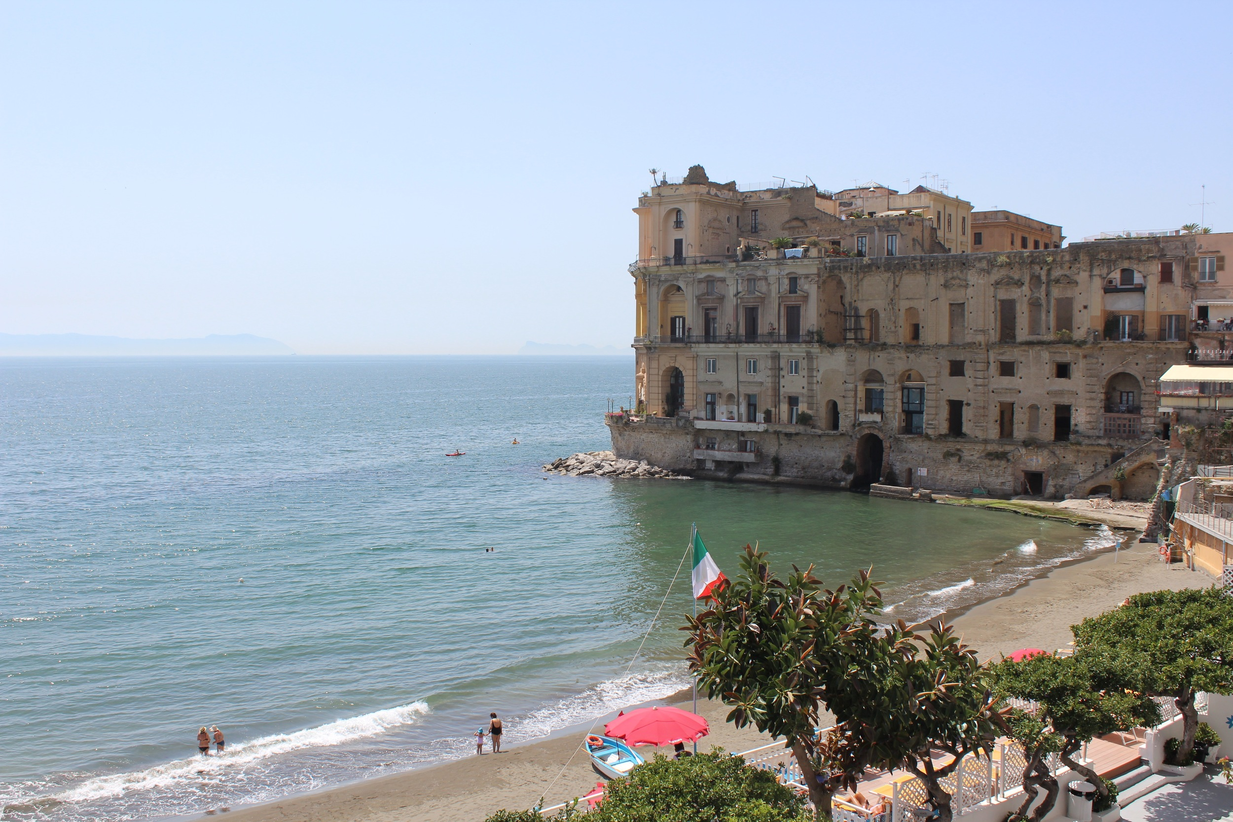 "Bagno Elena in the Posillipo district of Naples The name comes from the Greek Pausílypon which means ""respite from worry."""