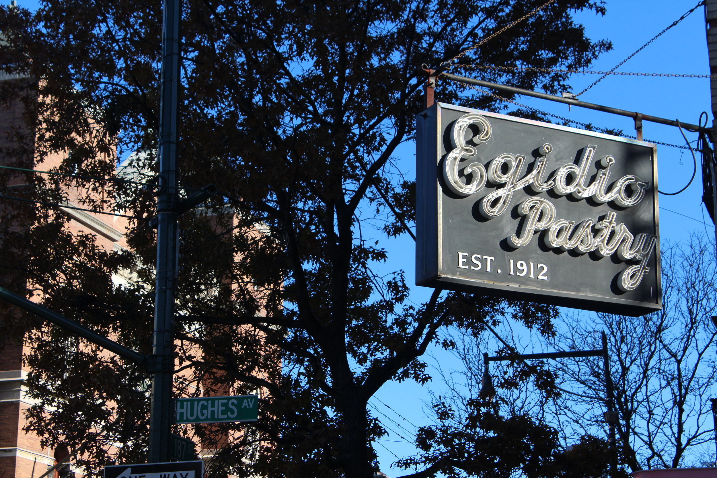 Egidio's Pastry Shop on 187th Street and Hughes Avenue, right near Arthur Avenue in the Bronx