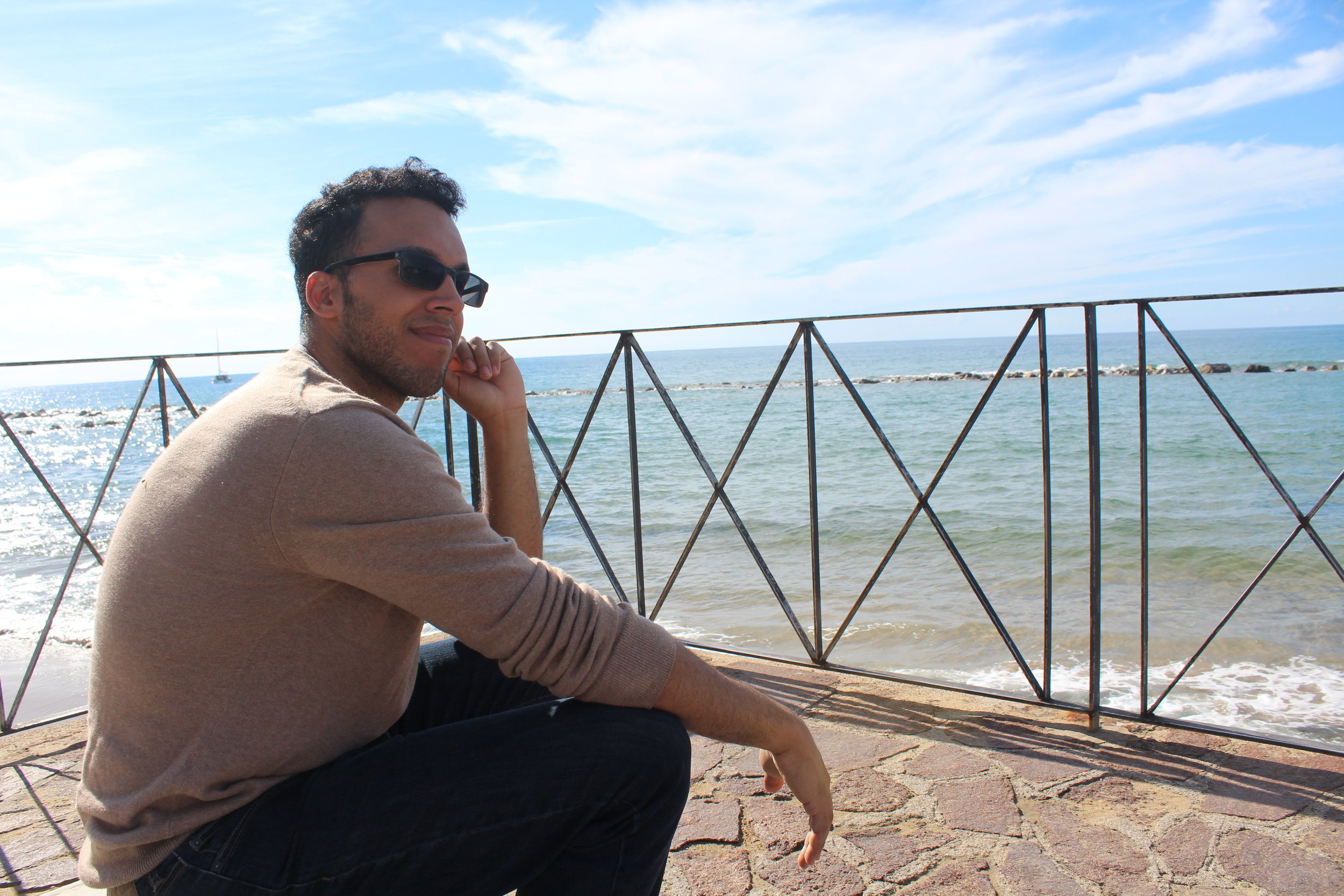 October 2016 tour guest  Anthony Diaz  enjoying the view of the Cilento coast from Castellabate