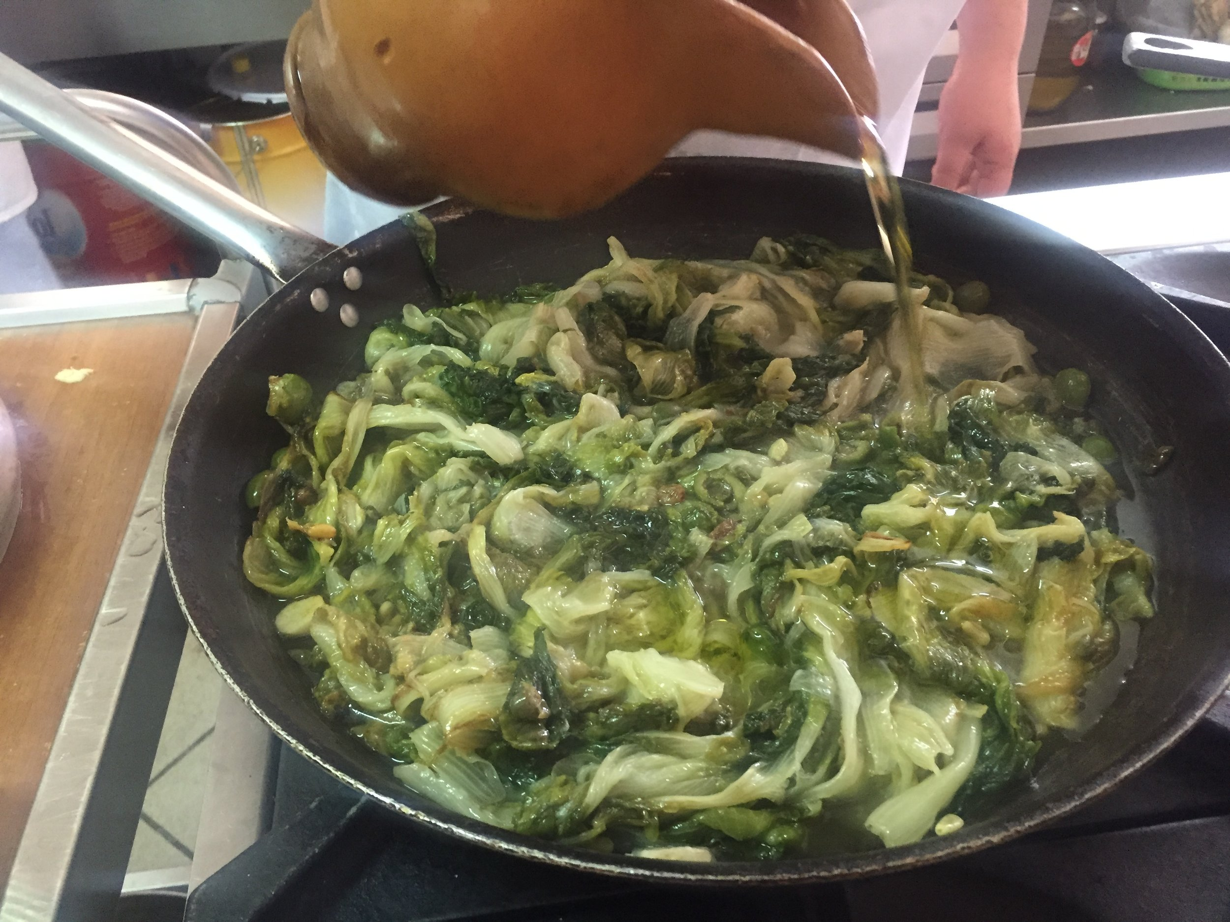 Escarole and anchovies with olive oil