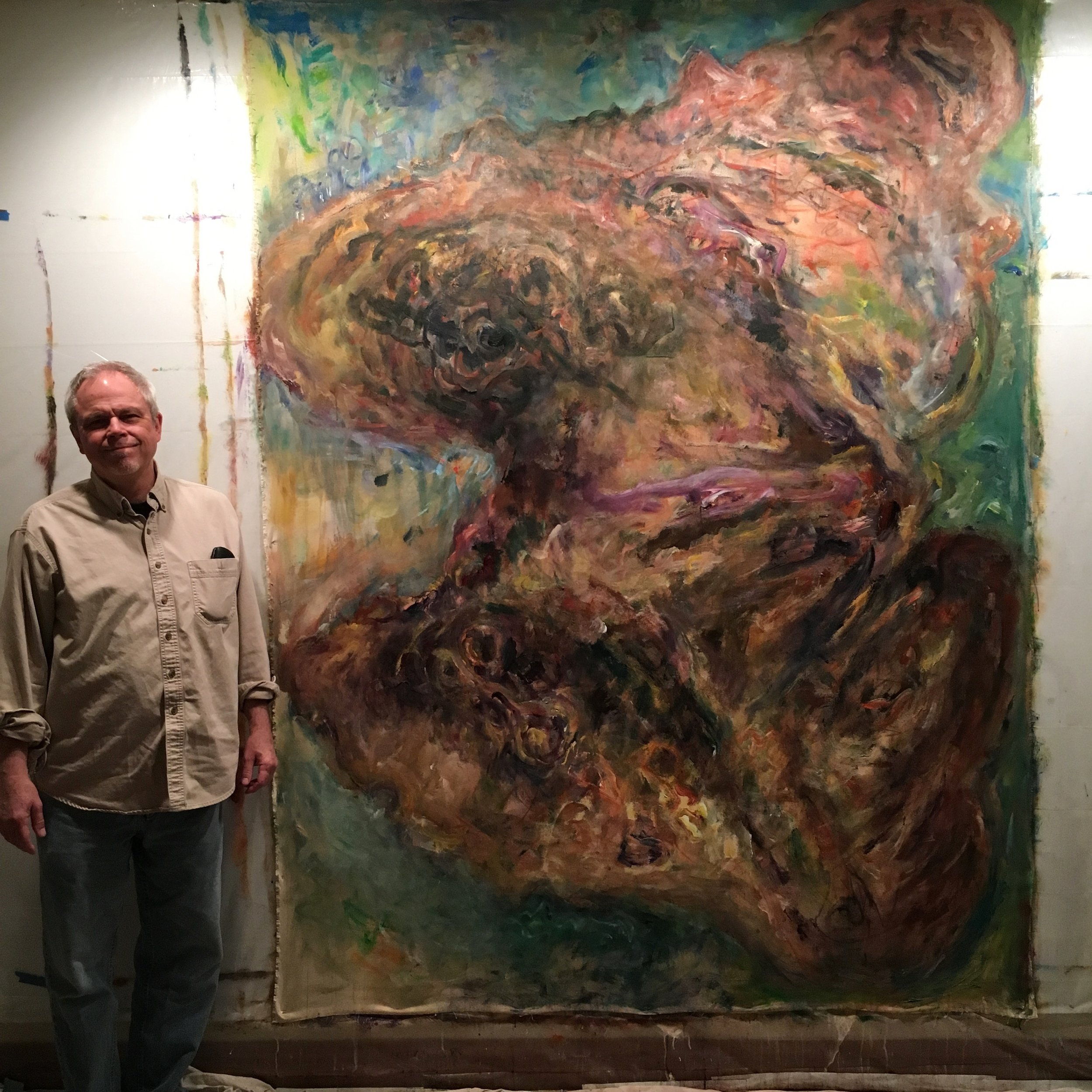 Studio view of Pillar f Dust #1 with artist.jpg