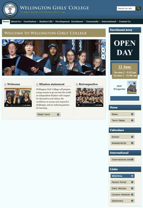 Before - A functional Home page but not a true reflection of the school's progressive culture.