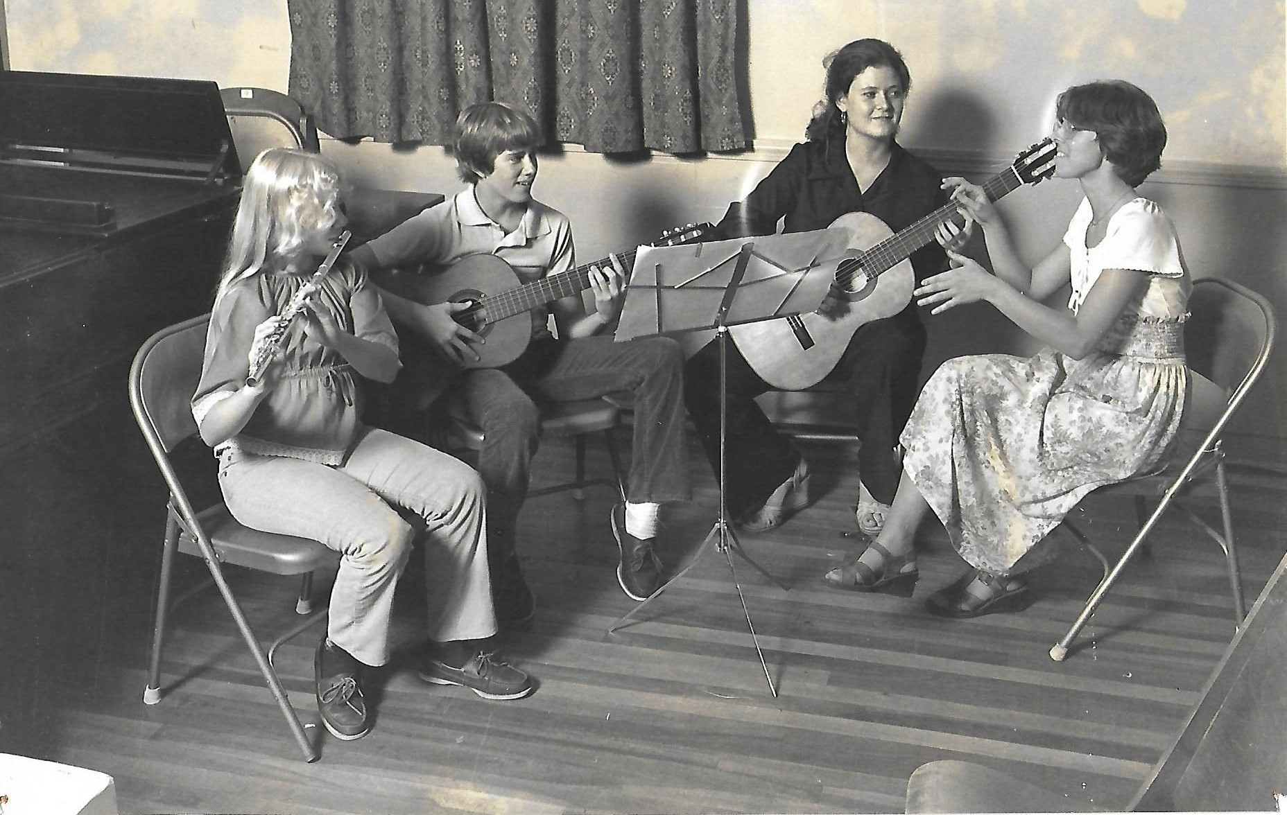 The Two Maples, Musicians:  (Left to Right) Christine Bills, Robert Bills, Anne O'Conner, Mary Stoops (Music Director)