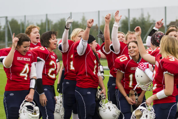 Read more about women's pro football (yes they tackle!)