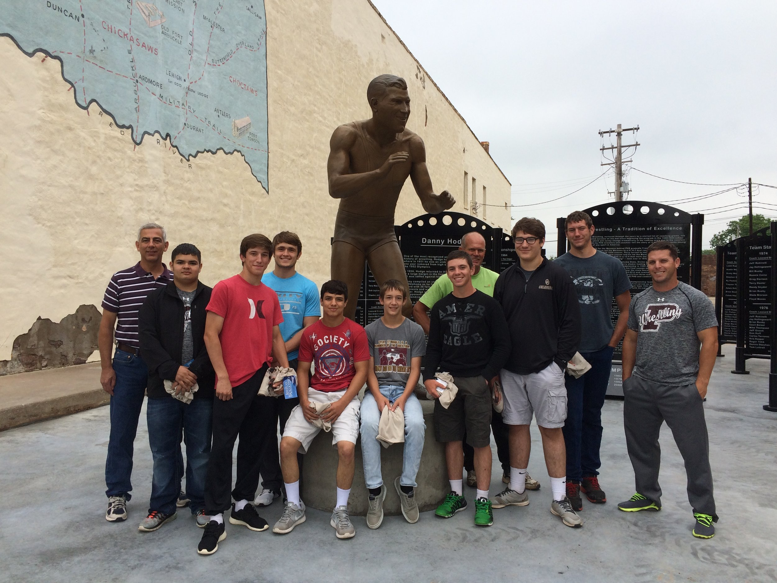 Ronnie Delk and the Perry Wrestlers visit the Perry Monument Park