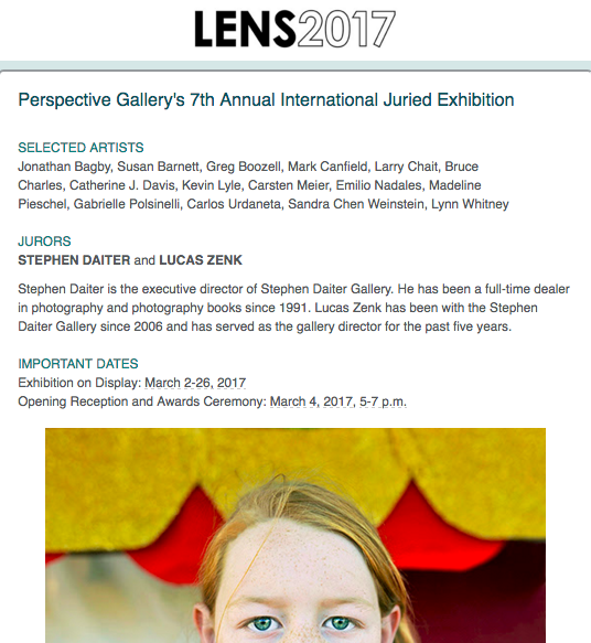 This year Perspective Group and Photography Gallery in Chicago Metropolitan Area, IL, had submissions by 174 photographers from all over the world. The jurors pored over the more 800 images submitted. I am honored to be exhibiting some of my photographs alongside another 15 outstanding photographers.