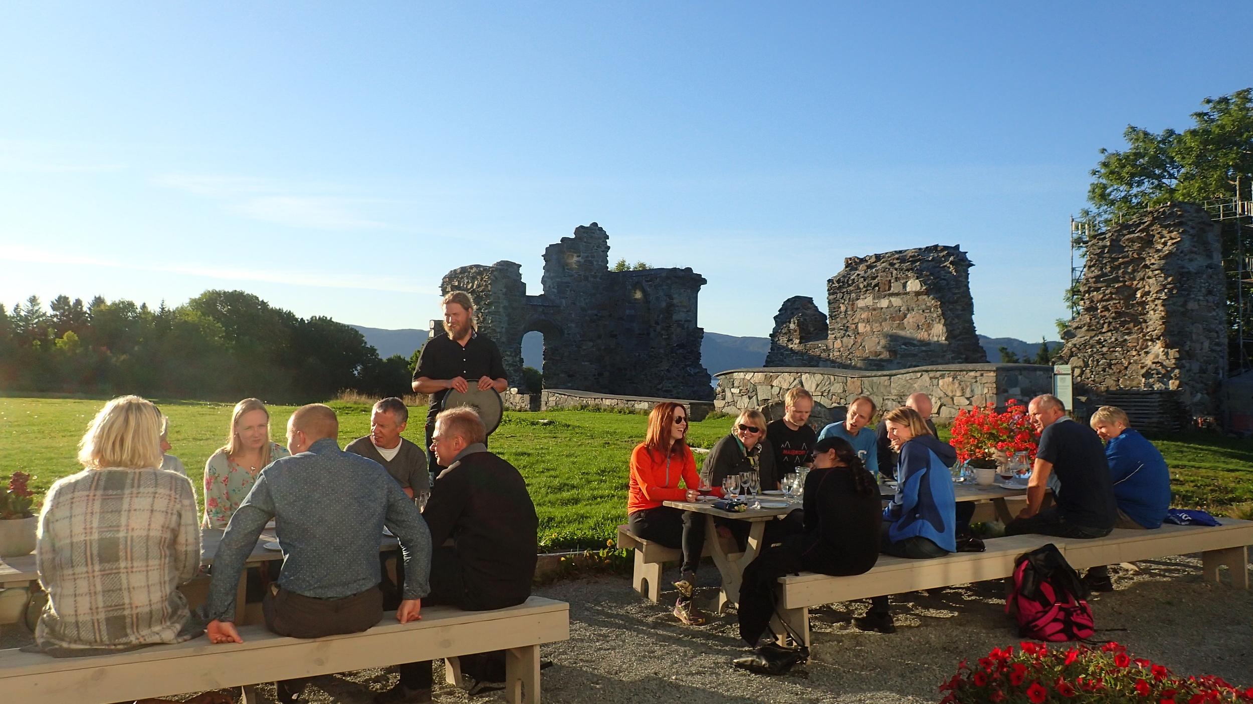 Beer tasting by the ruins.