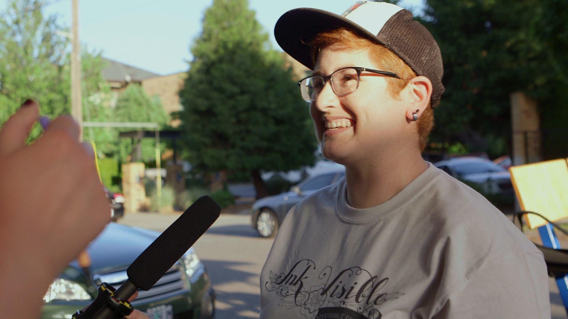 Arianna being interview by Bitch Media.