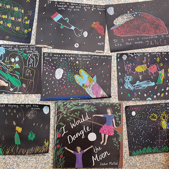 Work from imaginative 5 year olds, inspired by I Would Dangle the Moon!