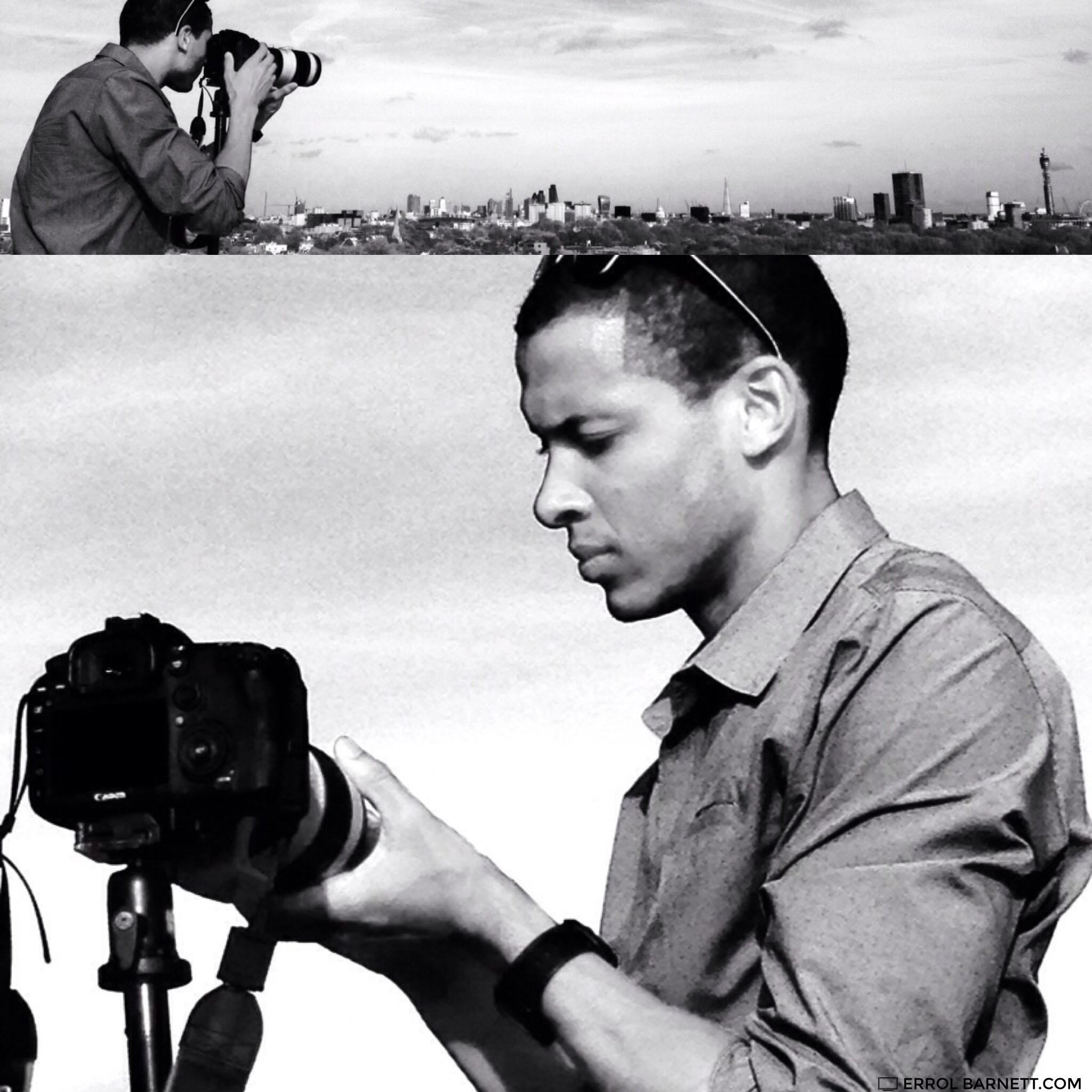 Errol Barnett taking pictures of the London skyline, April, 2015.