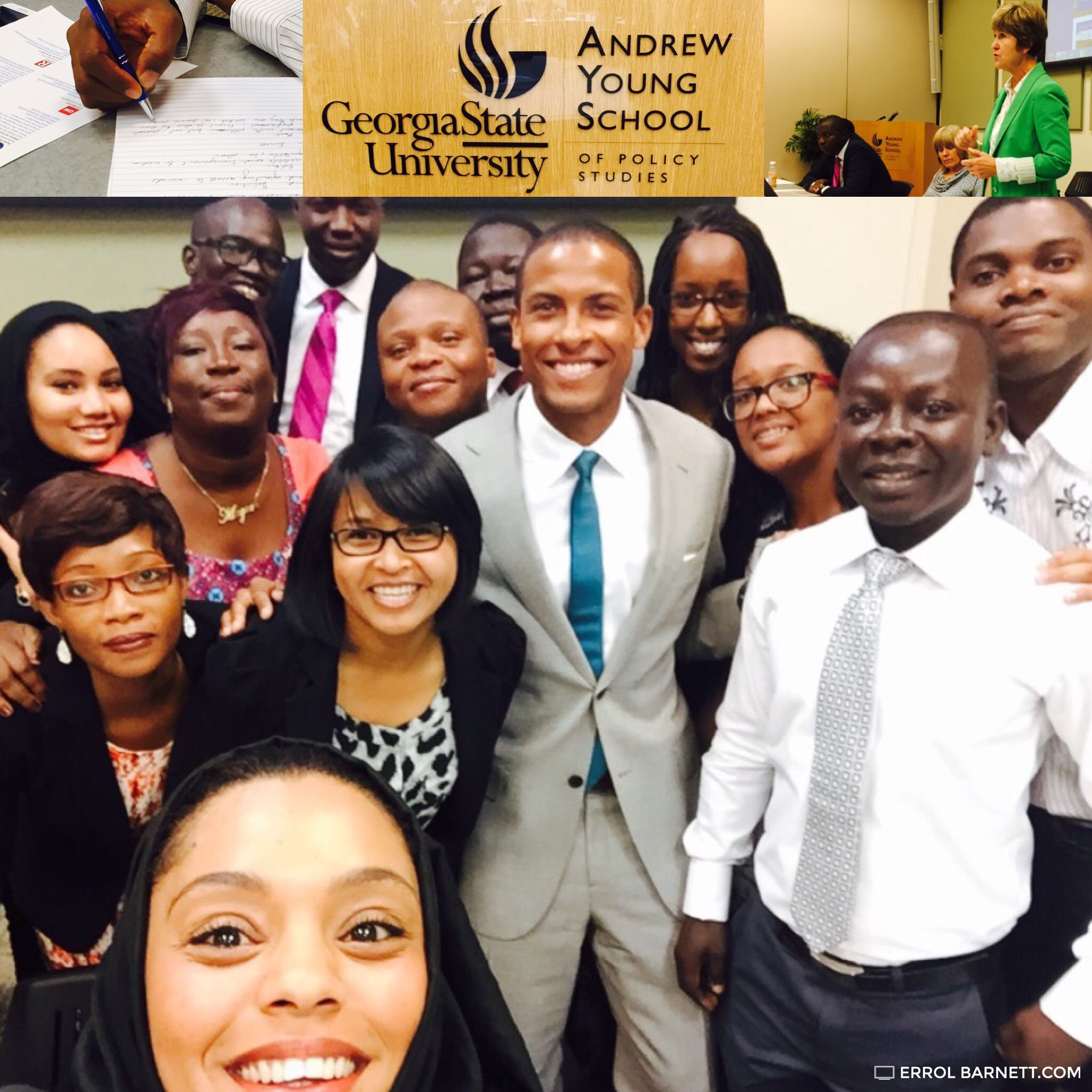 cheesing with fellows from president obama's young african leaders Initiative after a discussion in atlanta in june of 2015