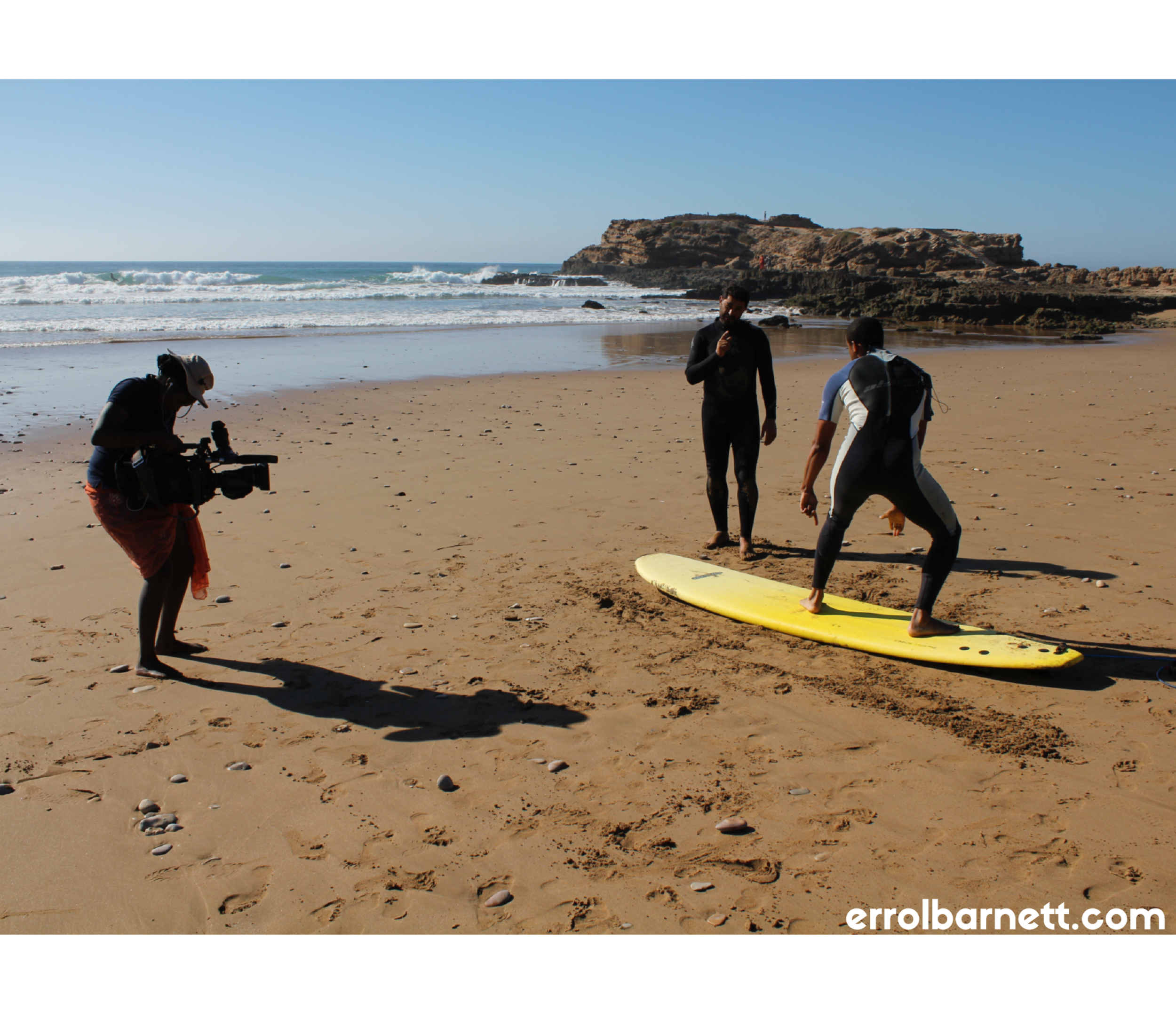 learning how to surf in morocco for an episode of 'inside africa'