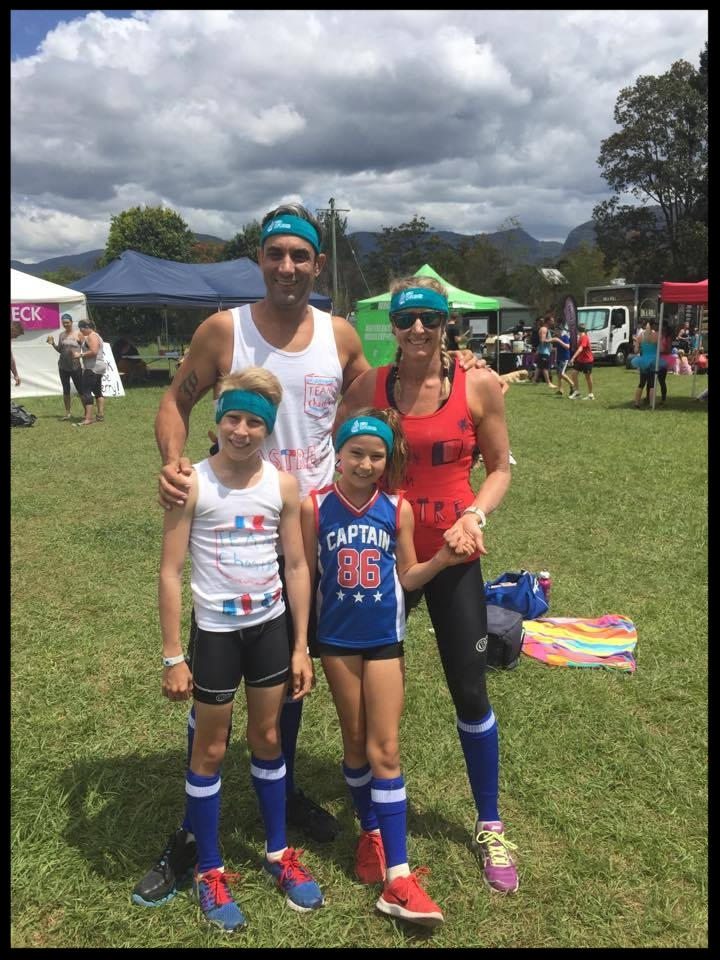Our family (Chris, Jen, Jules, Josie) completing the RAW Challenge at Numimbah