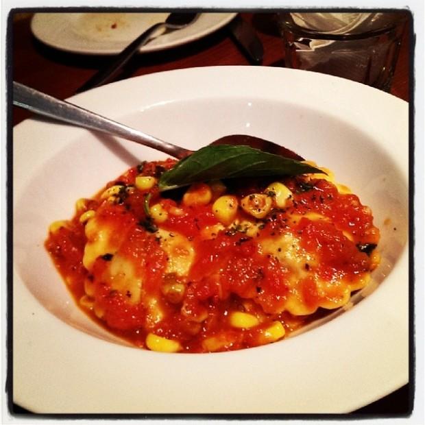 Ravioli with fire roasted corn and tomato basil sauce