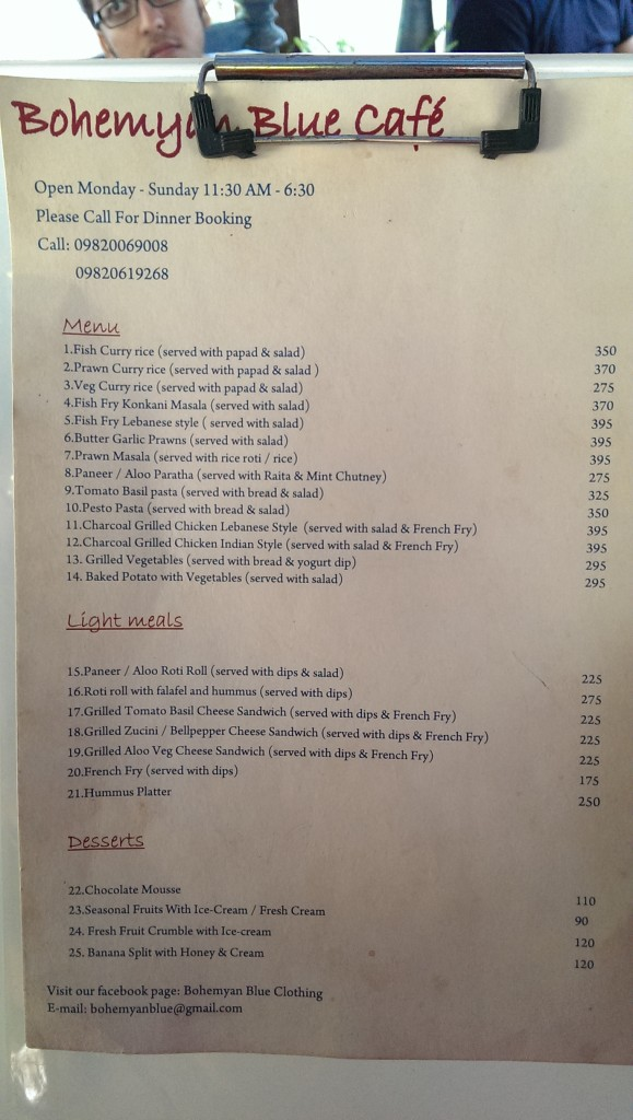 Menu Part 1 @ Bohemyan Blue, Alibaug