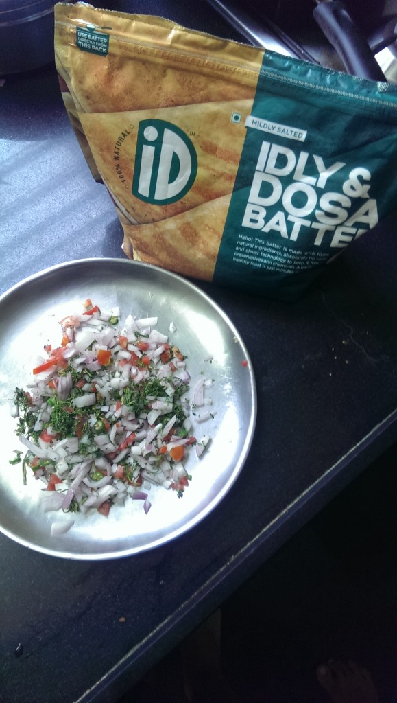 Dosa Batter with the Uttapam toppings