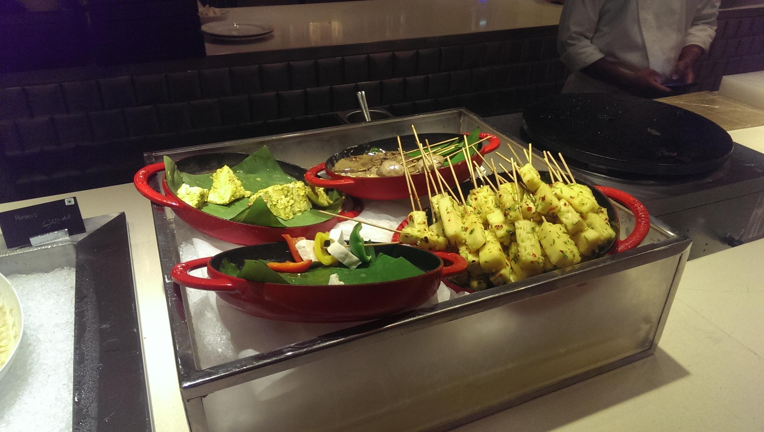 Fresh Skewers ready to be grilled @ JW Cafe, JW Sahar