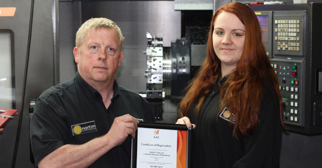 AAC ISO 9001 registered and UKAS approved - We're pleased to announce that Nortim Precision Engineering has recently become AAC ISO 9001 registered and UKAS approved. Nortim's Owner and Managing Director Tony Powell and Office Manager Jess Scarborough receiving the the original certificate.