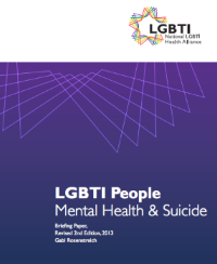 If you are interested in learning more about mental health in the LGBTI community, click  here  for an excellent resource by the National LGBTI Health Alliance.