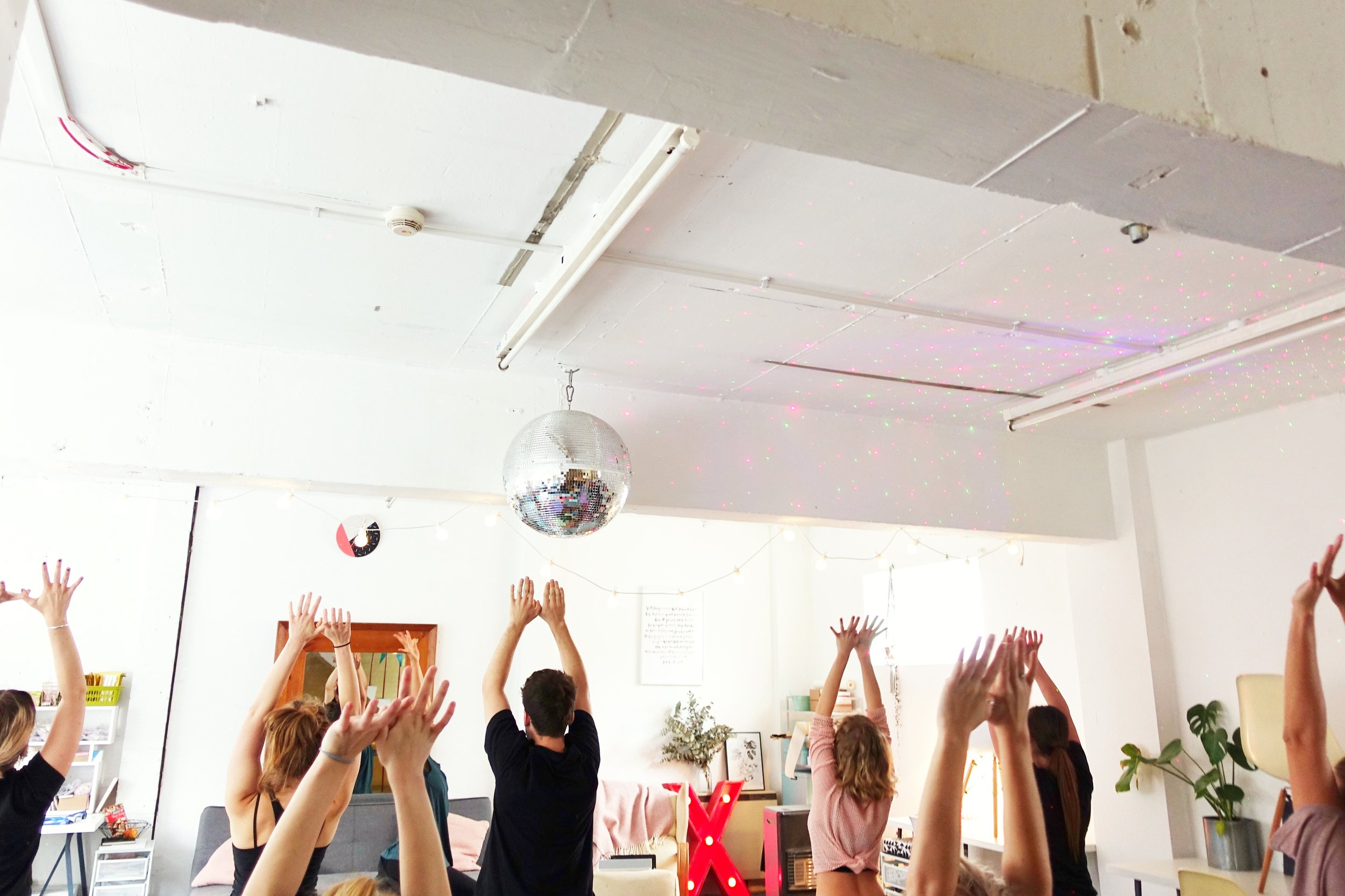 Yoga @ the One Girl Band Space (UK) - Weekly community classes in the heart of the North Laine in Brighton every Tuesday.