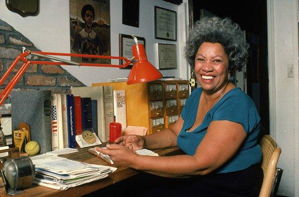 Toni Morrison at her desk at home, c.1980   photo credit : Bernard Gotfryd  