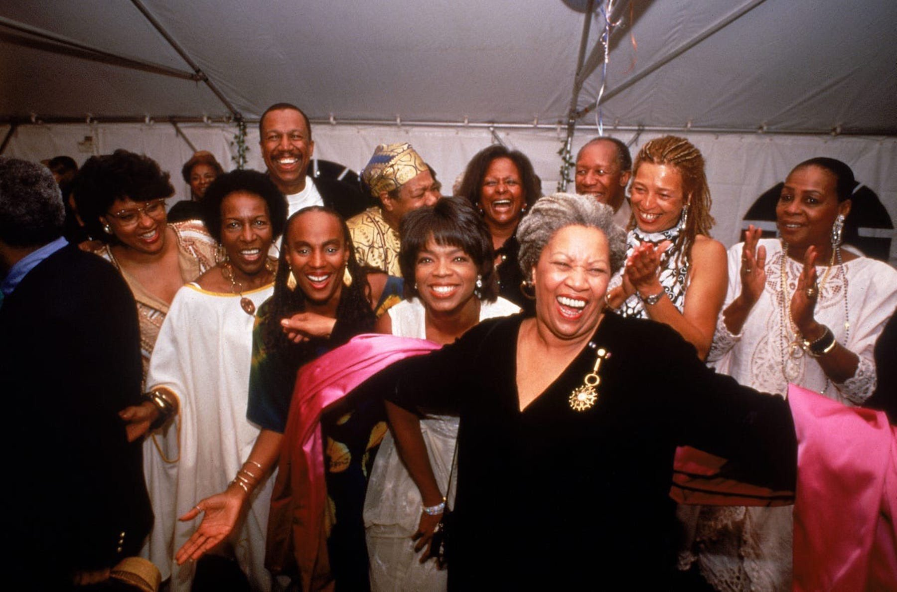 Toni Morrison, Susan Taylor, Rita Dove, Oprah Winfrey, Amina Baraka, Angela Davis, Maya Angelou & others celebrating Toni Morrison's Nobel Prize in Literature   photo credit : Will McIntyre/Time Life Pictures/Getty Images 