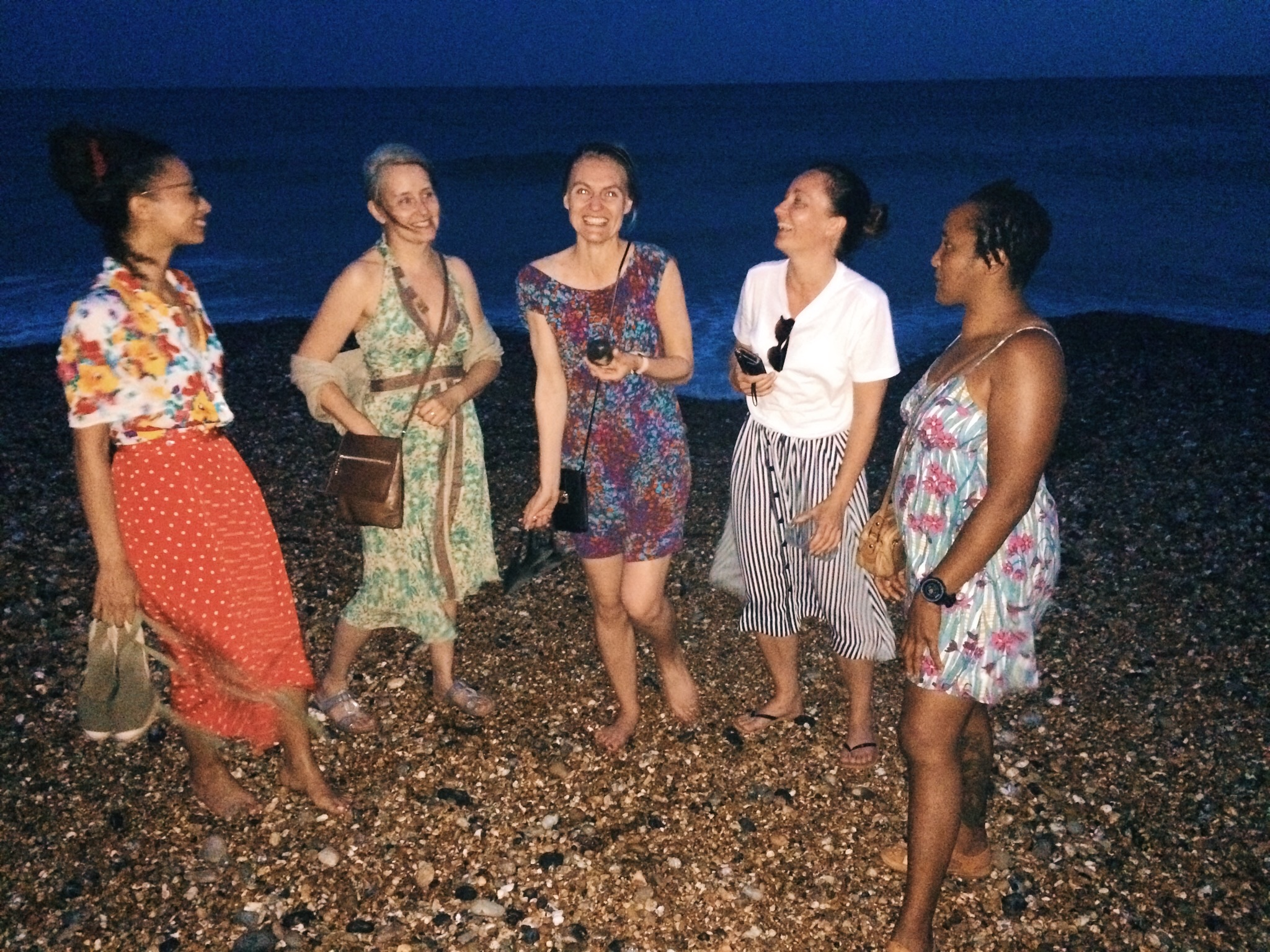some of our Brighton retreat buddies after an impromptu dip in the sea after dinner!  📷 by  Ketxl