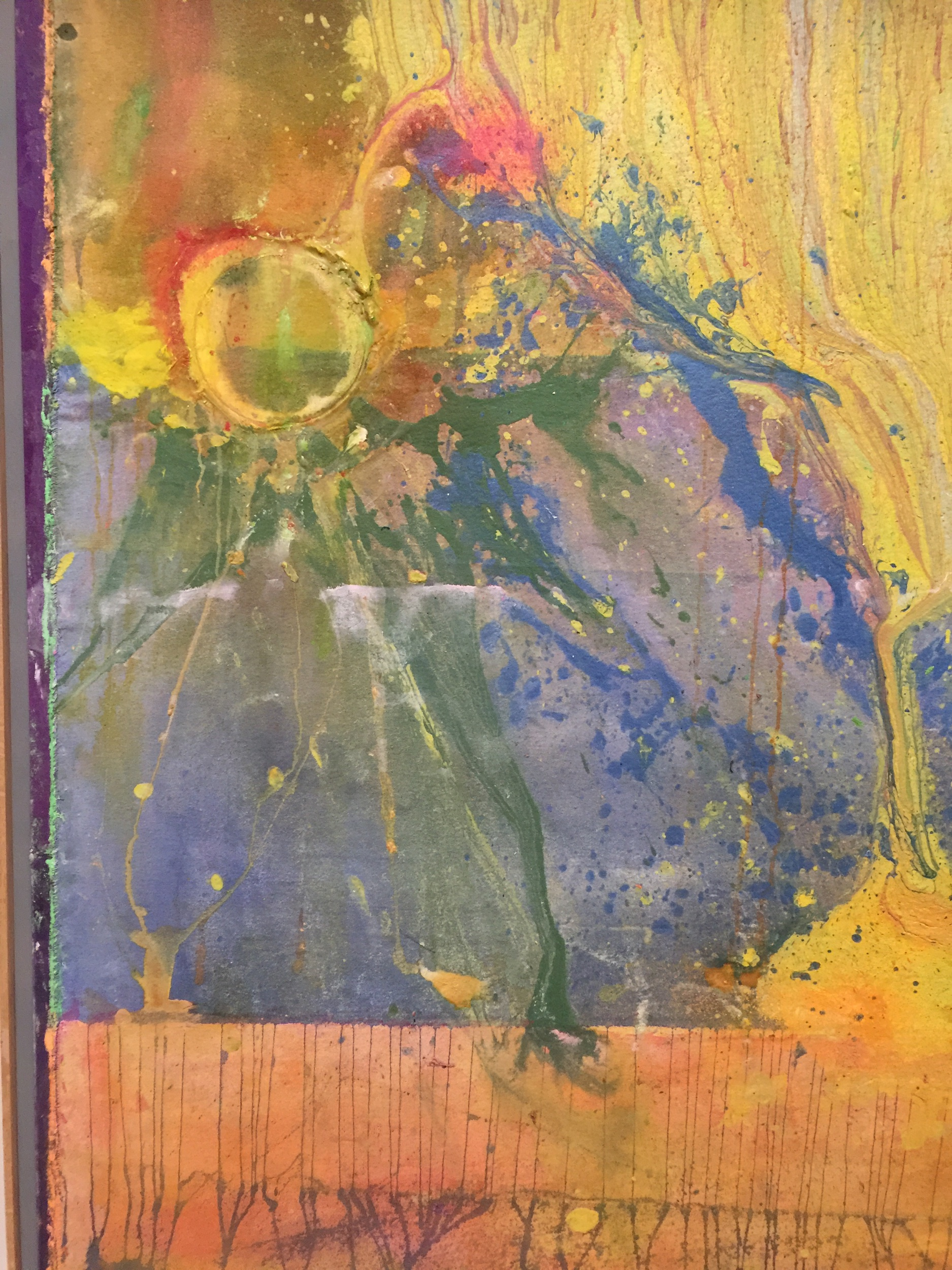 Frank Bowling Tate Britain 2019 detail from Remember Thine Eyes 2014