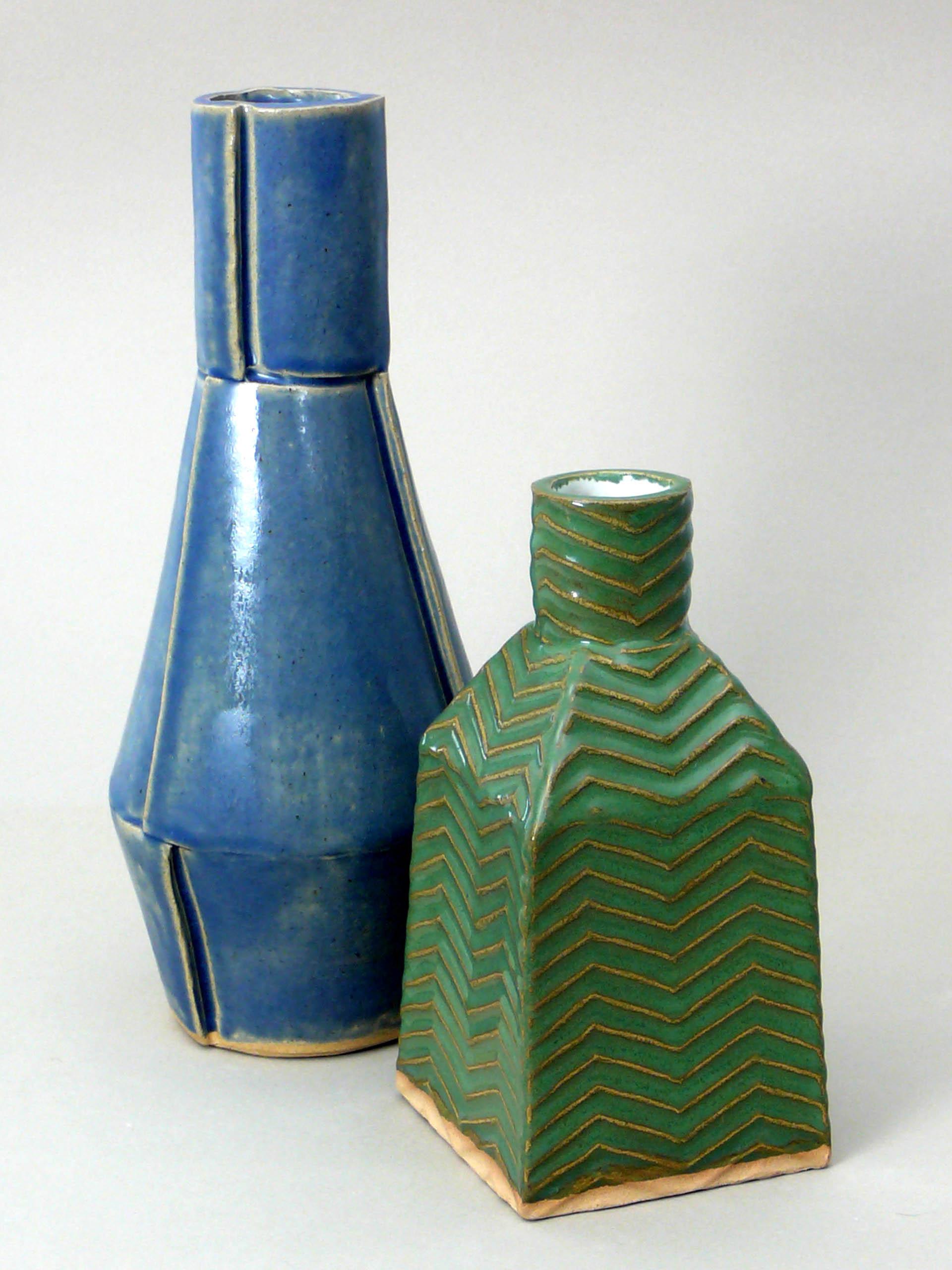 Panel Vase and Square Vase