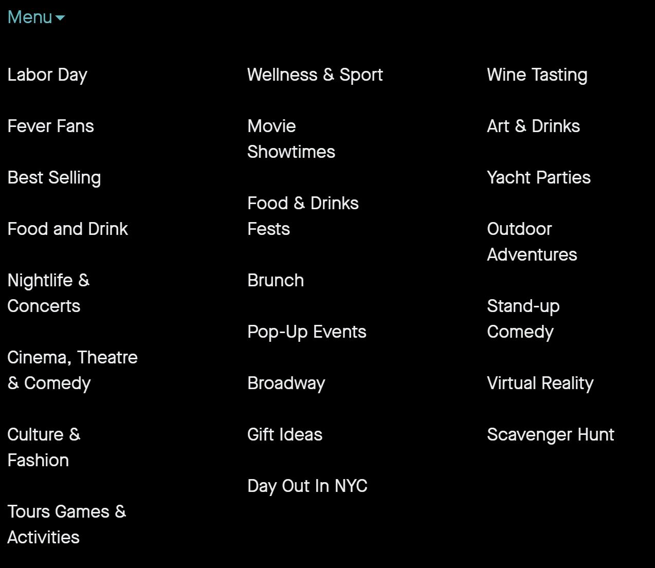 Some Fever categories from the NYC page.
