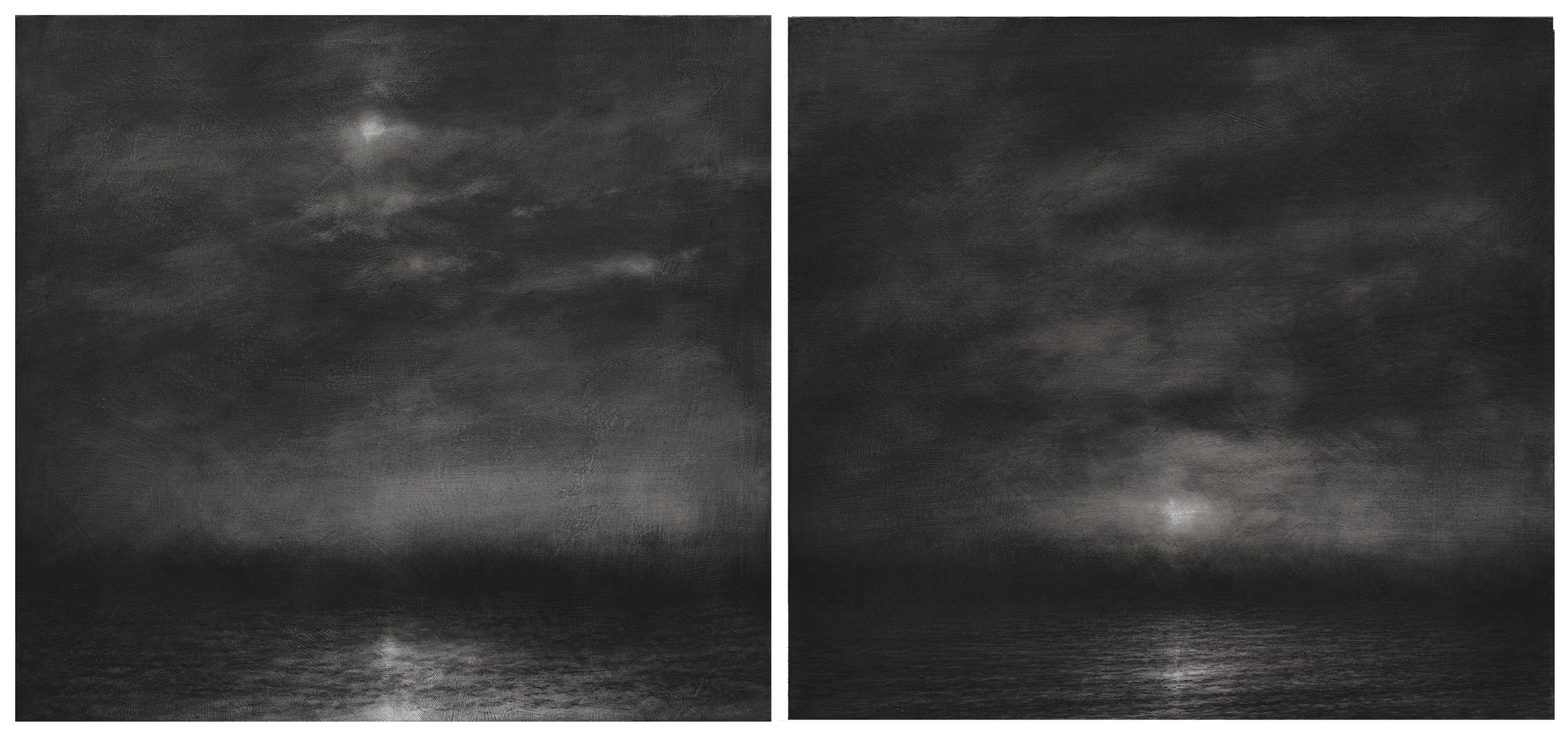 2014, charcoal on canvas, 85x95 cm. each