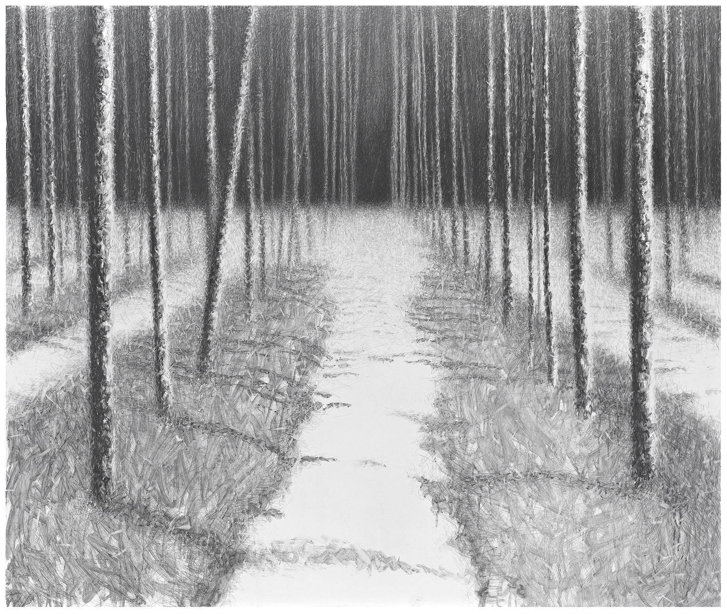 2010, graphite on canvas, 146x172 cm.
