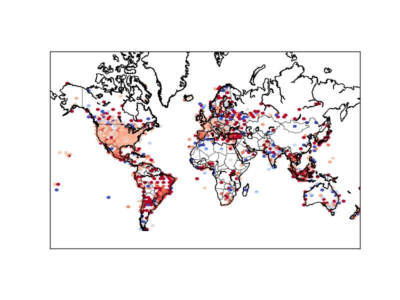 Hexbin map of Twitter sentiments: using  coolwarm  reverse pallet (dark red = -1, dark blue = 1)