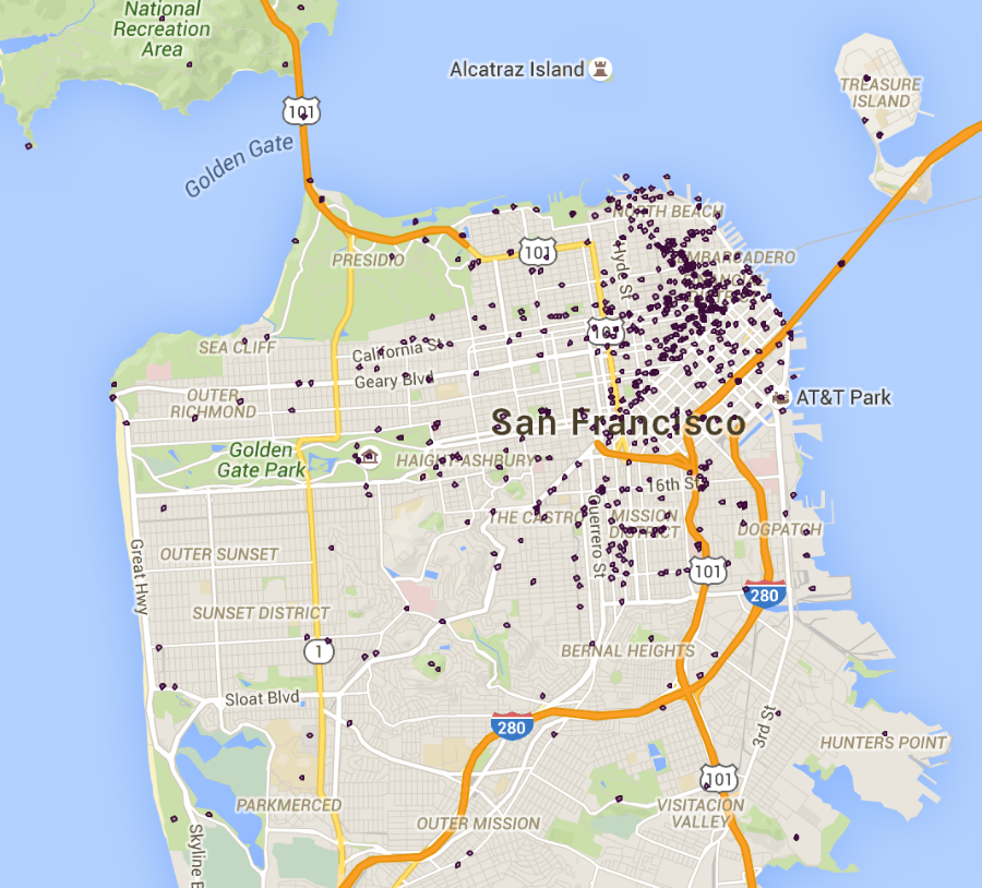 Map of all movie locations in San Francisco.