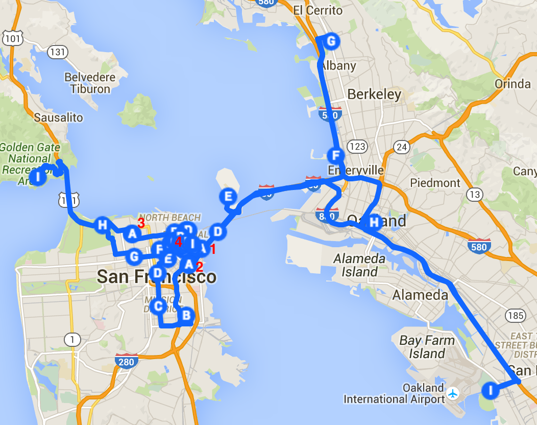 Visualization of the optimal route between famous film locations in SF.