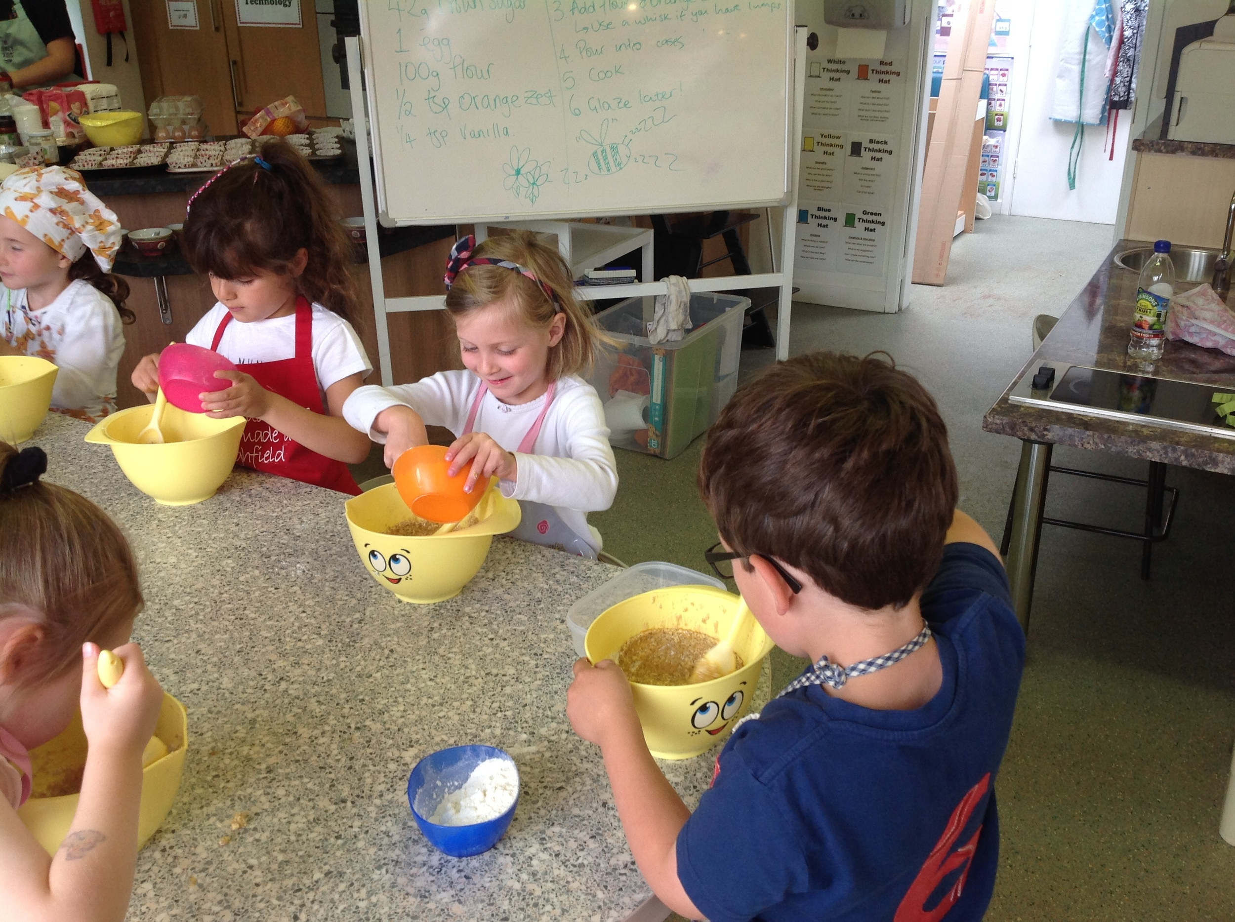 Mixing in the flour