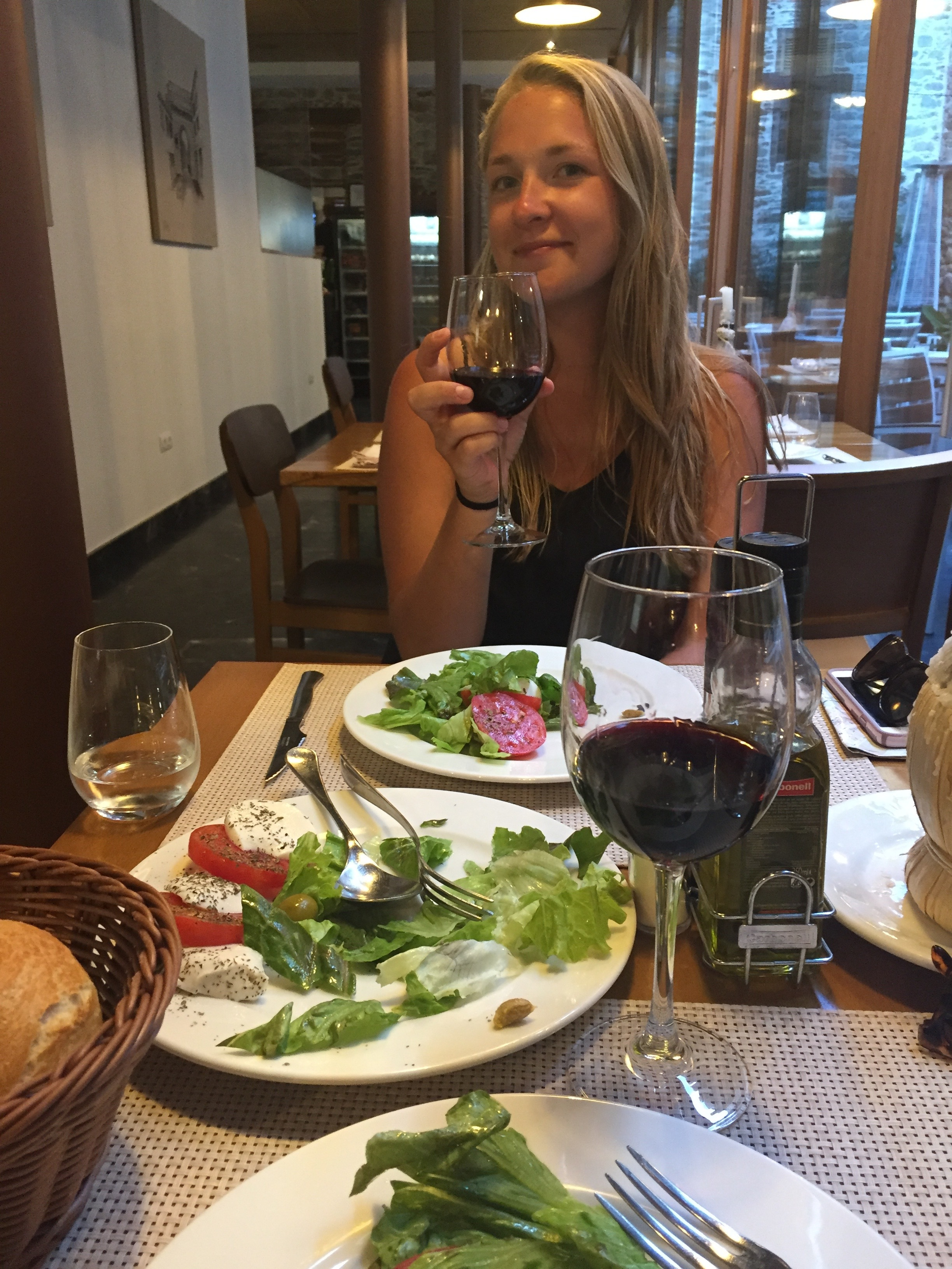 We felt spoiled eating at a fancy restaurant. Even still, the red wine was cheaper than the bottled water.