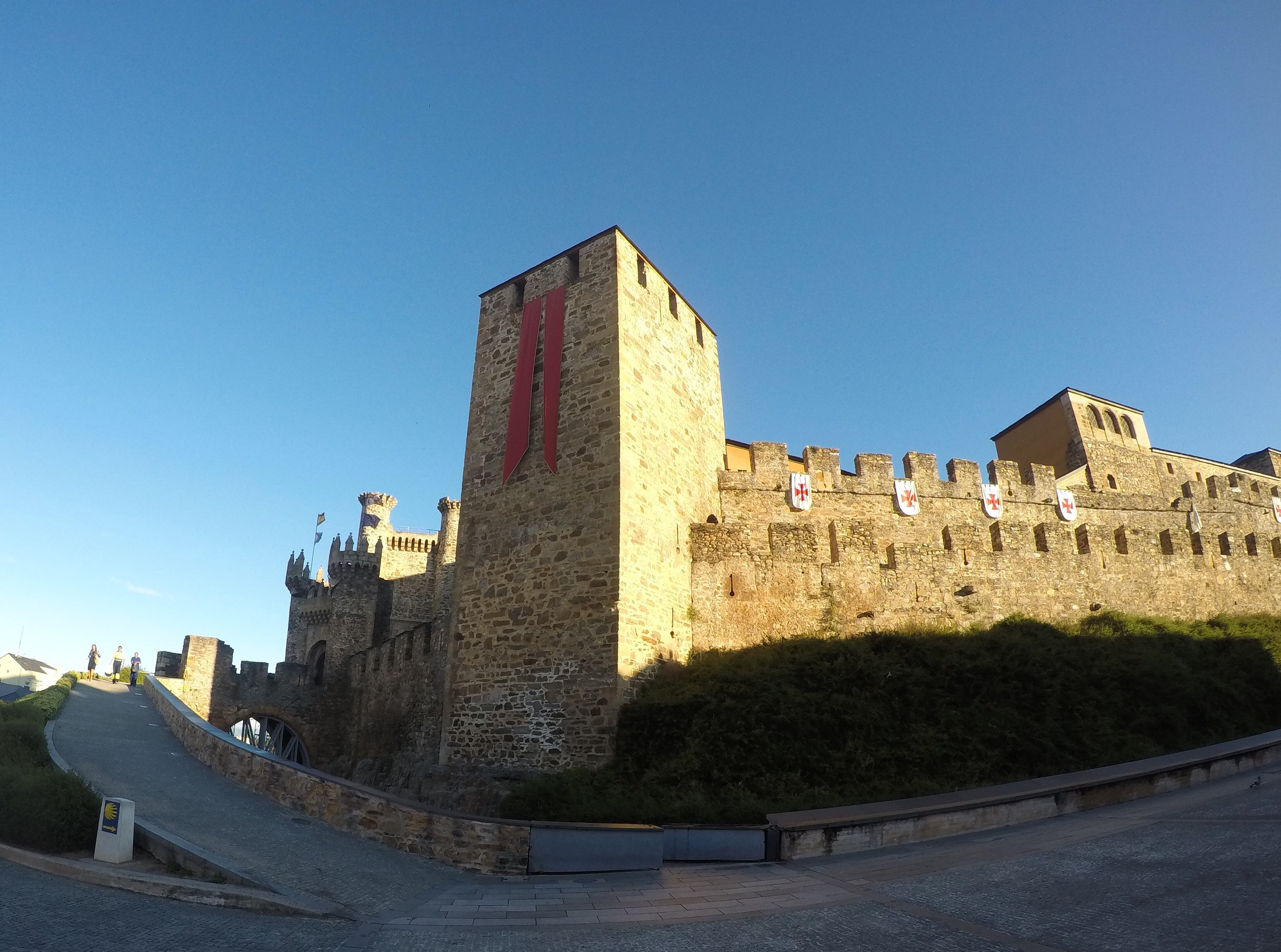 Passing the Castle of the Knights Templar on our way out of Ponferrada